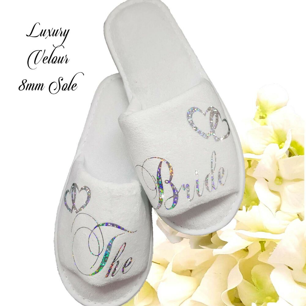 f99f9af69 Details about Bride Bridal Bridesmaid Hen Wedding Slippers Sparkling Silver  LUXURY VELOUR