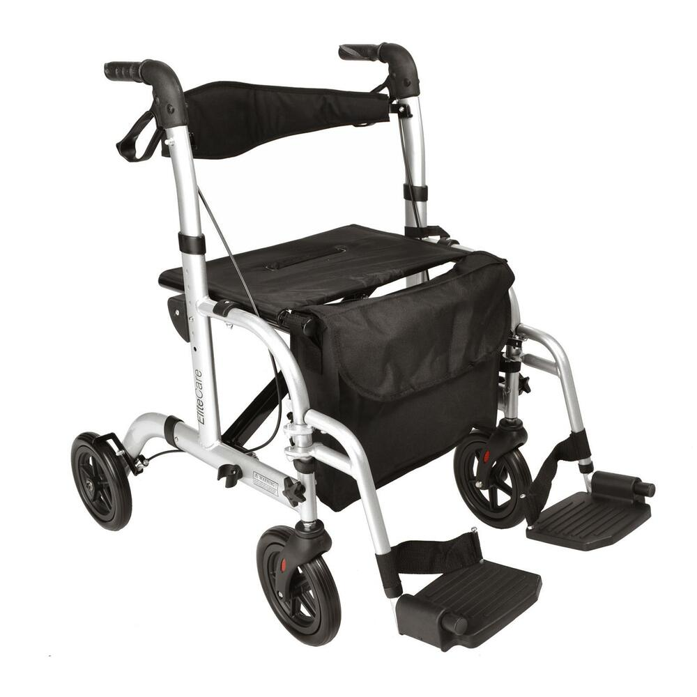 Hybrid 2 In 1 Rollator Walker Transport Wheelchair With