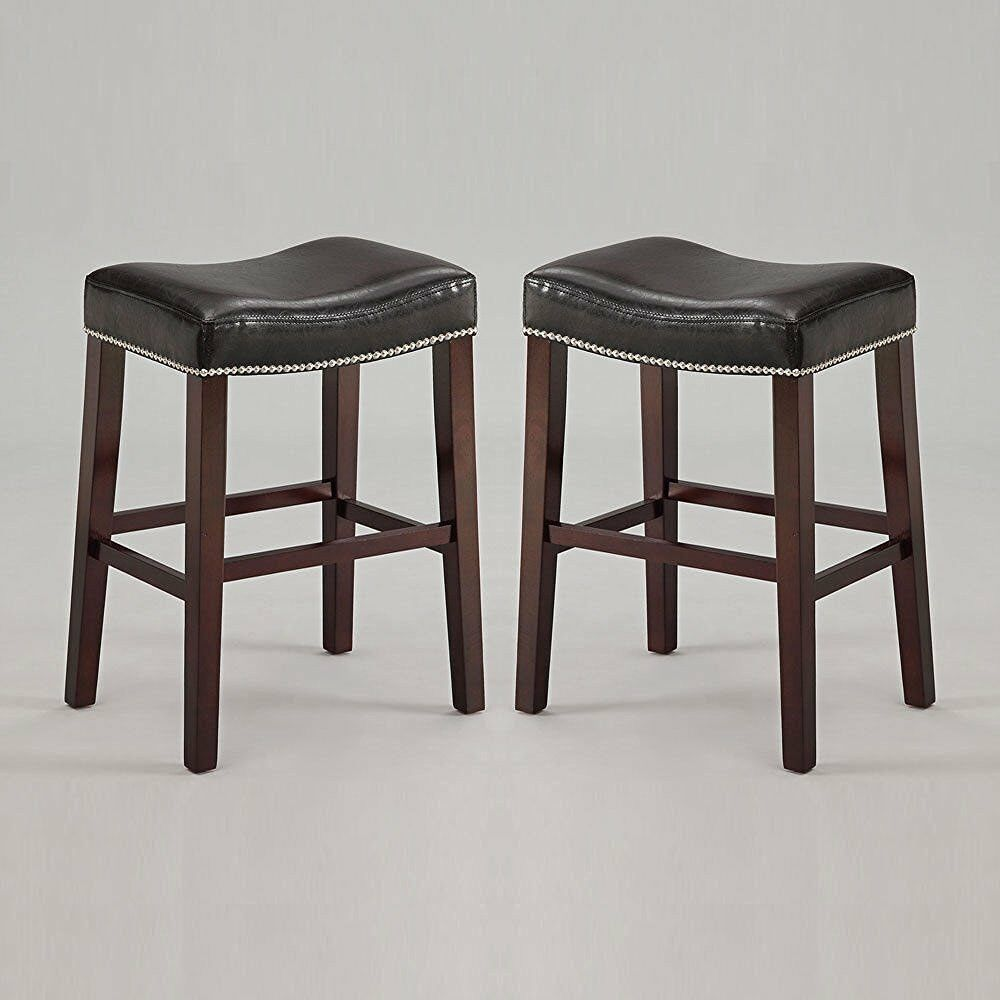 Set Of 2 Lewis Saddle 29 Quot H Counter Stool Chair Nailhead