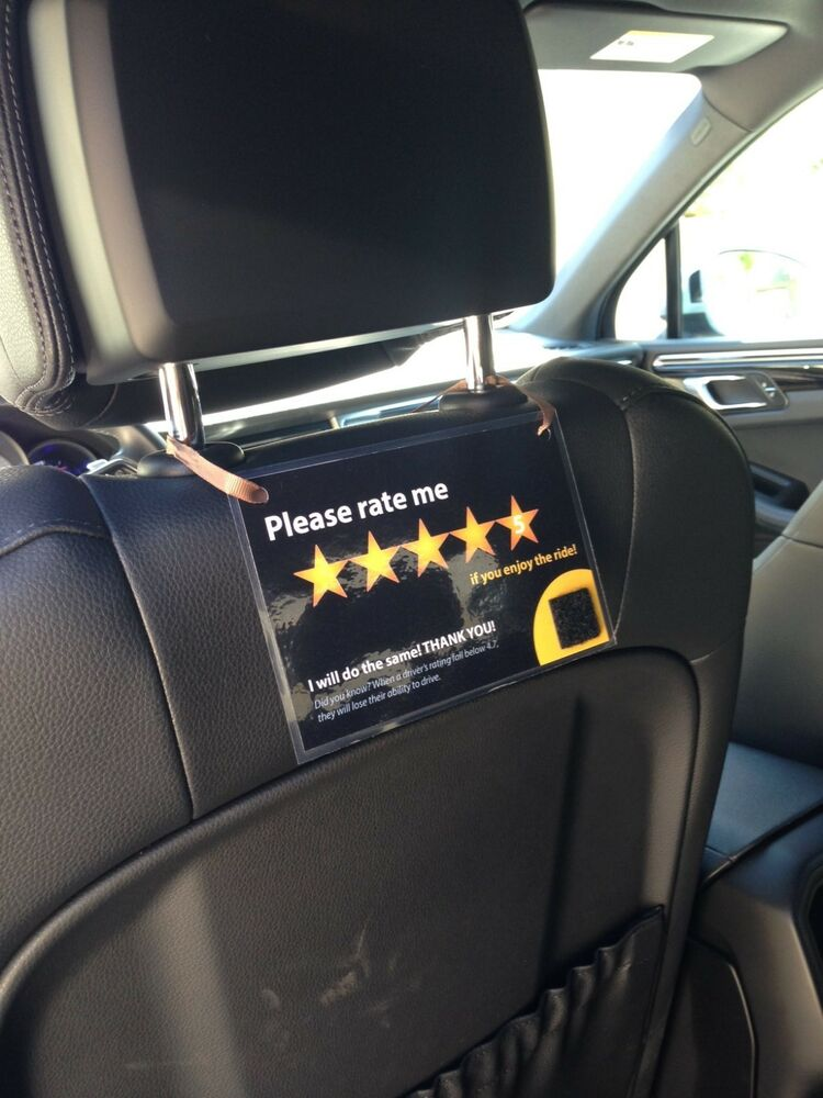 2 x Uber Lyft Headrest 5 Star Ratings Decal Sign Rideshare ...