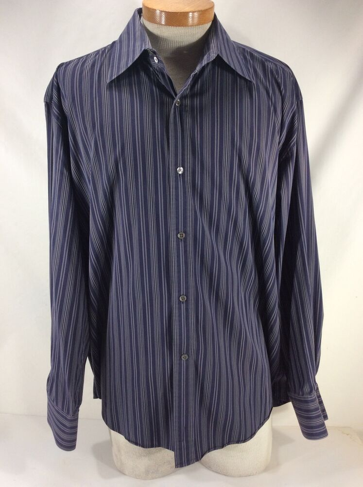 Faconnable Men S Xl Black And Purple Striped Button Down