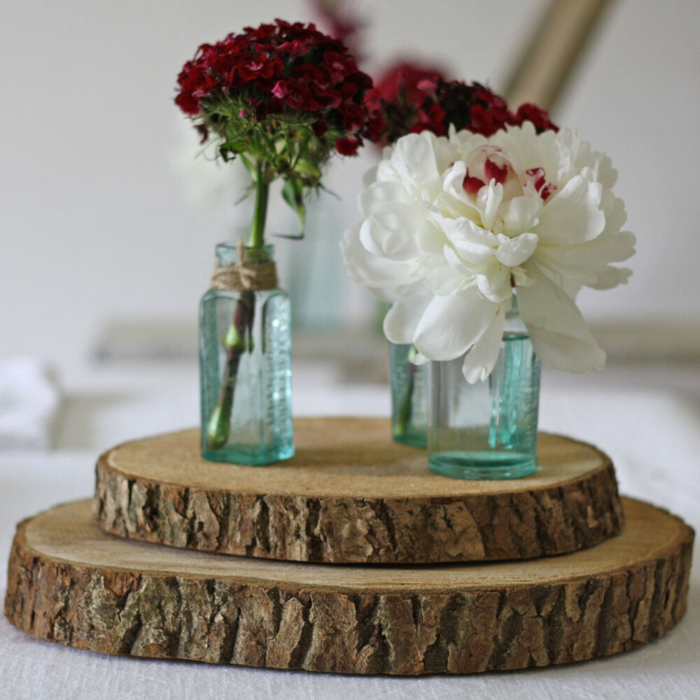 Rustic wedding centerpieces ebay round paulownia wood tree slices rustic wedding log natural decor reversible junglespirit Choice Image