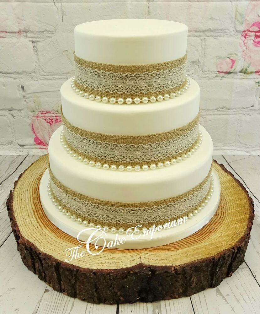 wedding cakes lace and pearl vintage rustic wedding cake hessian amp lace ribbon with 24864