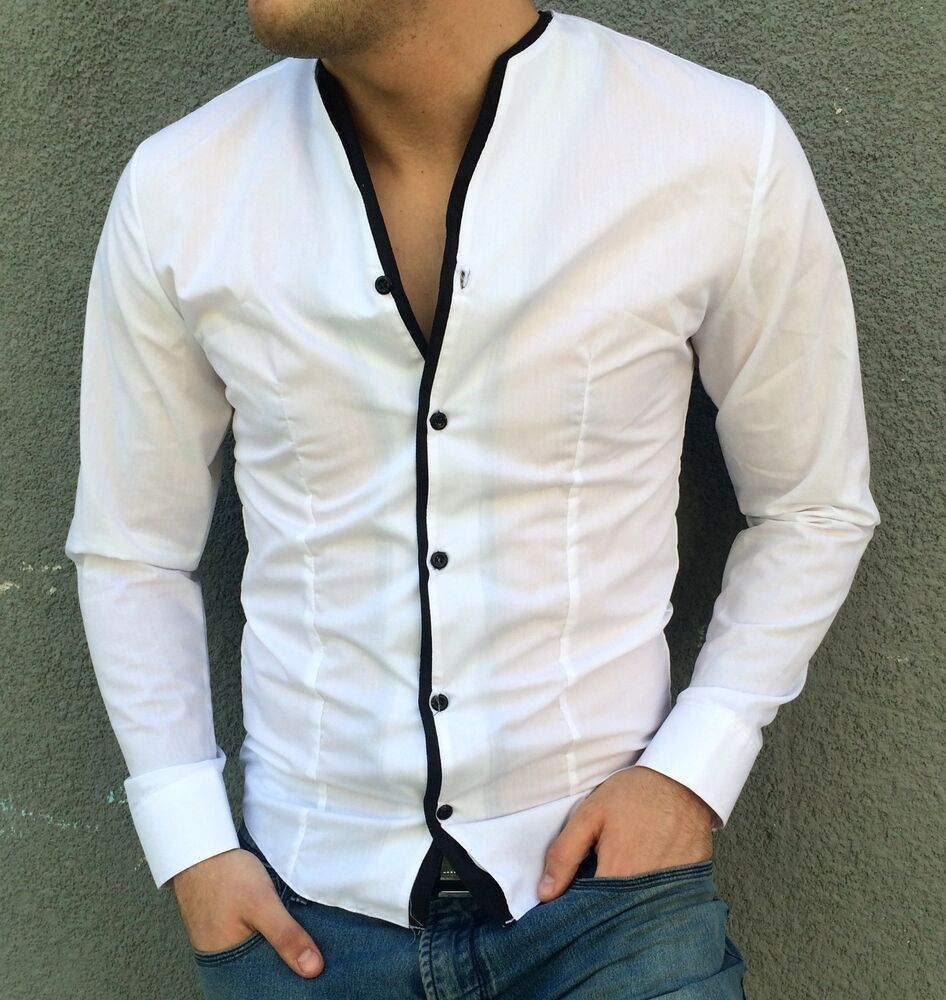 Fashion mens stylish shirt slim fit collarless casual and for How to find a dress shirt that fits