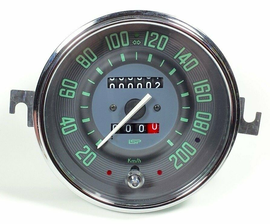 200 Kph To Mph >> VW BUG BUS GHIA ISP 200 KLM SPEEDOMETER w/TRIP ODOMETER GREEN NUMERICAL FACE | eBay