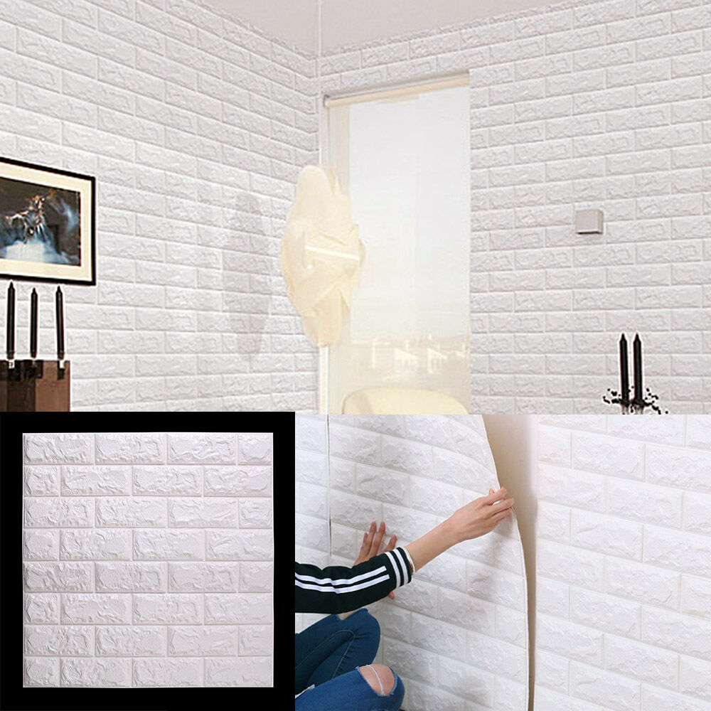 60 60cm white 3d brick wall sticker self adhesive panel for Stickers 3d pared