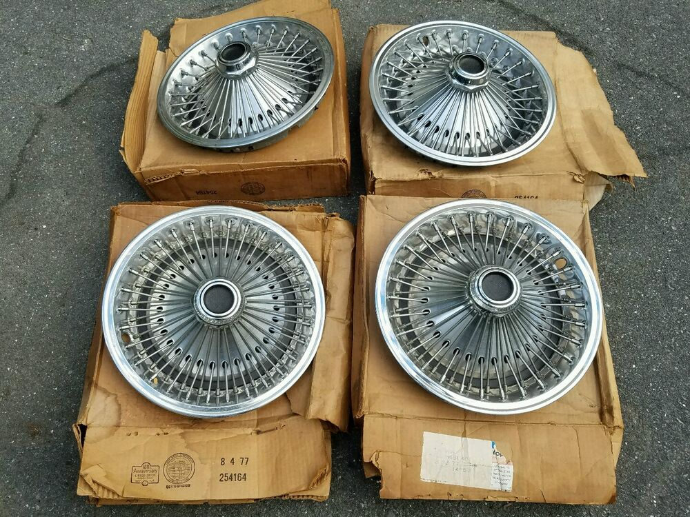 Nos Mopar Dodge Plymouth Charger Road Runner 14 U0026quot  Wire Wheel Hubcaps 1970s