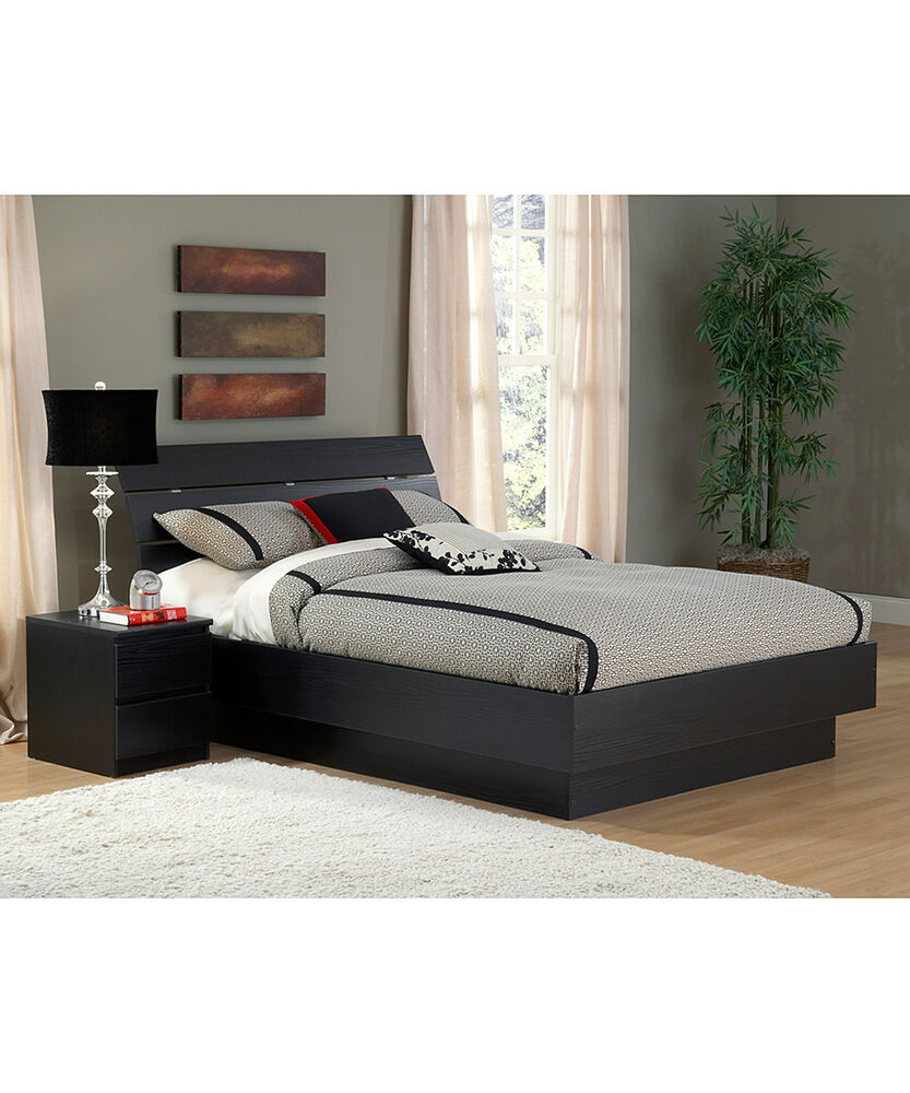 Black 2 Piece Queen Slat Headboard Platform Bed Set Home Bedroom Furniture Do