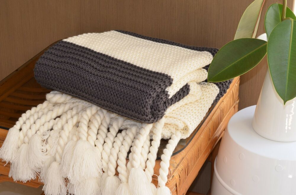 Charcoal and Cream Chunky Knit Throw Bed Sofa Couch Rug ...
