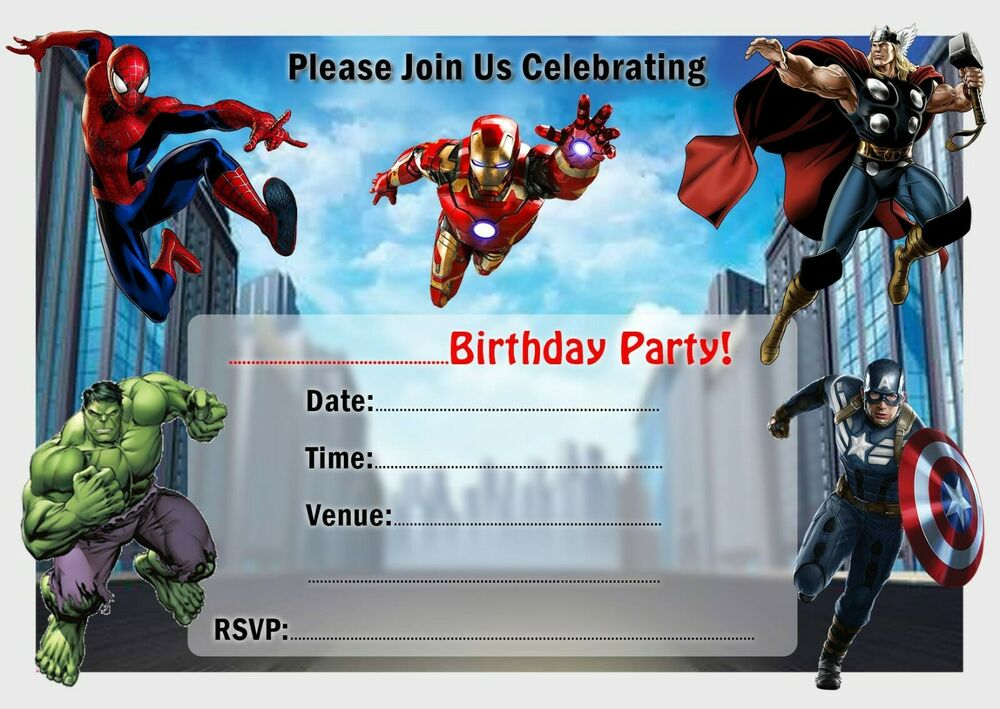 AVENGERS PARTY INVITATIONS INVITES WITH OR WITHOUT ...
