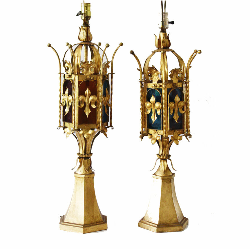 Pair Italian Tole Crown Table Lamps W Stain Glass Antique