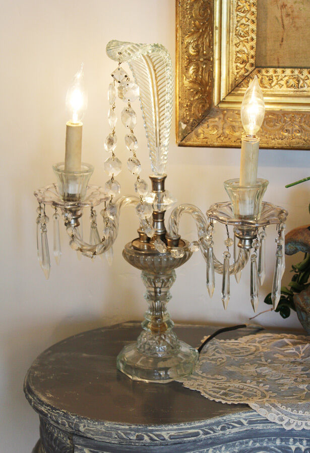 Antique Art Deco Crystal Candelabra Girandole Table