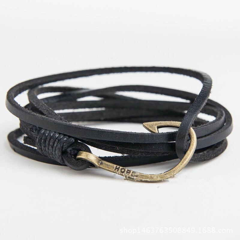 Genuine leather wrap rope wristband fish hook cuff mens for Mens fishing bracelet