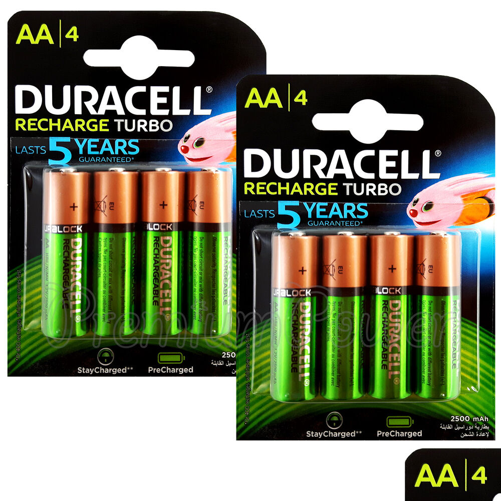 8 x duracell rechargeable aa batteries 2500 mah replaces