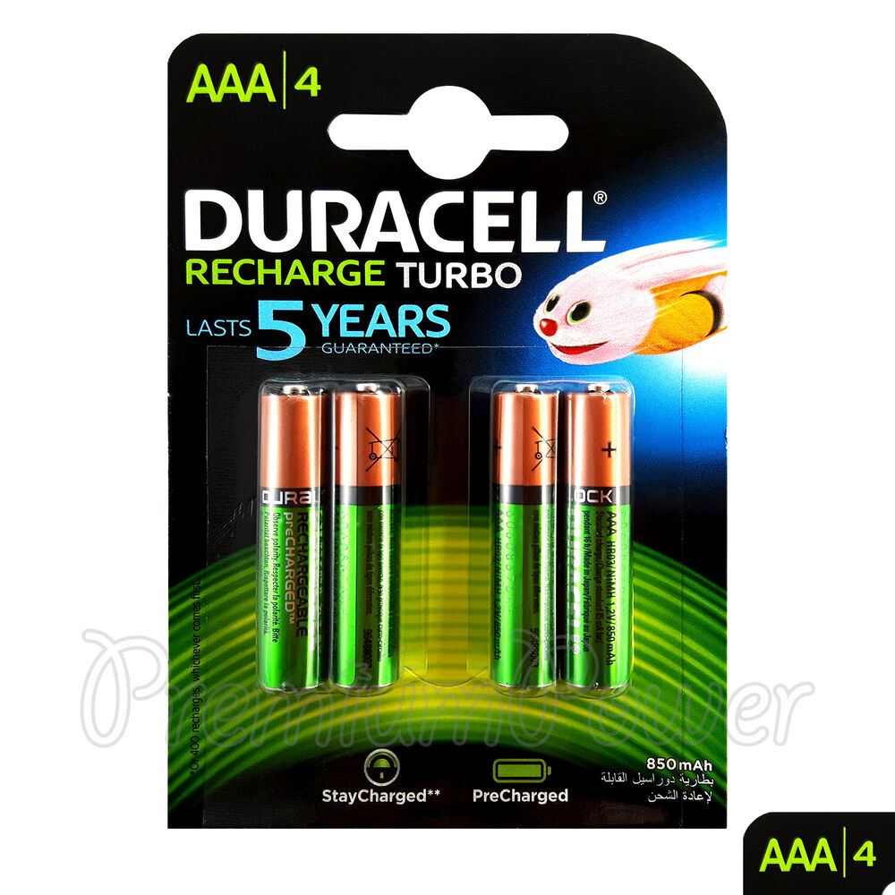 4 x duracell rechargeable aaa batteries 850 mah nimh lr03. Black Bedroom Furniture Sets. Home Design Ideas