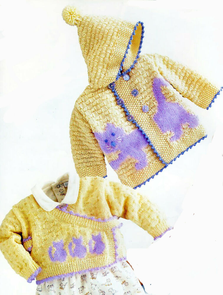 Knitting Pattern- Baby Cat- Hooded jacket & cross over cardigan pattern ...