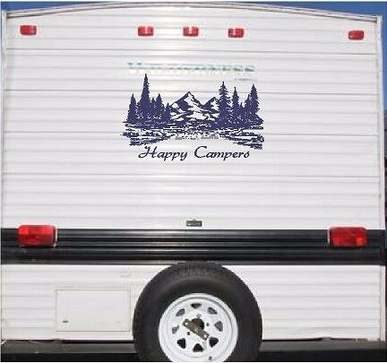 Mountain Landscape Happy Campers Camper Rv Vinyl Decal