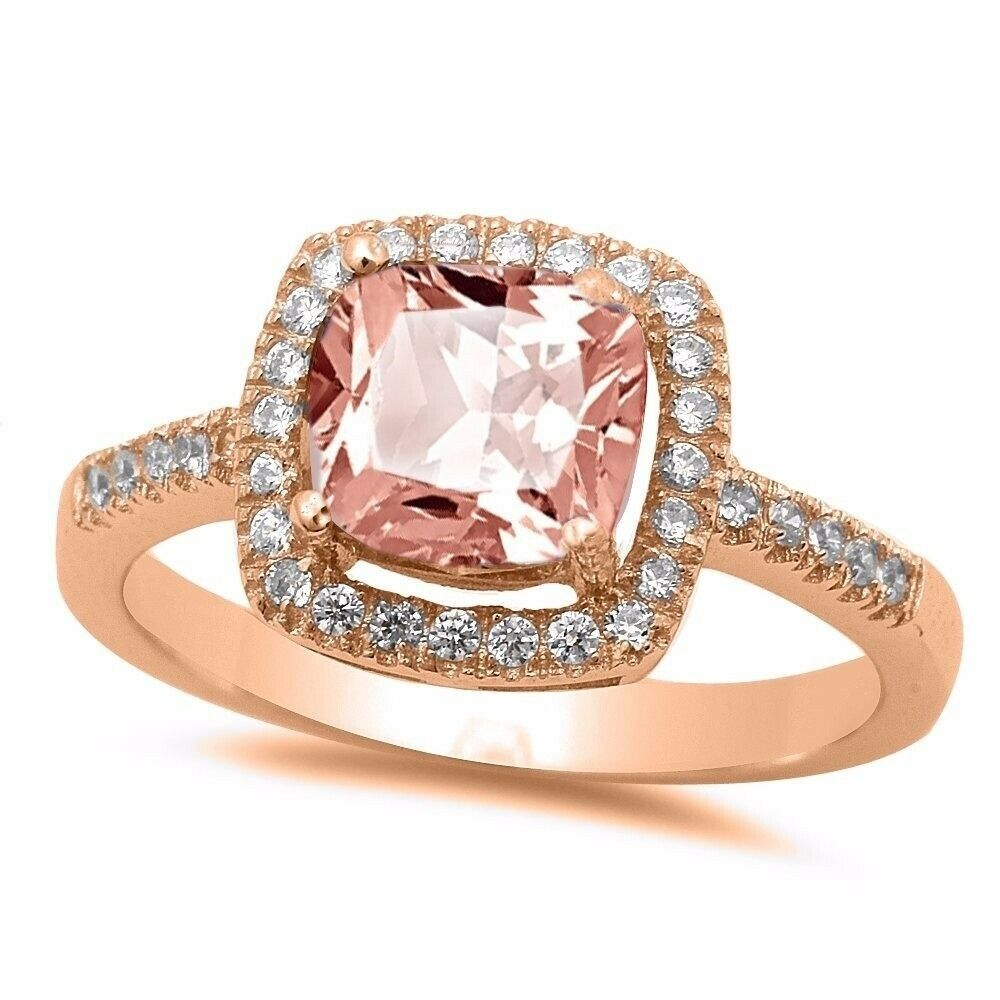 rose wedding rings cushion pink morganite gold sterling silver halo 7132