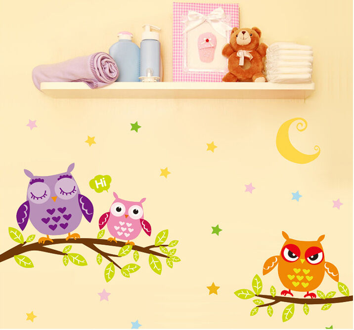 Moon night owl colorful stars wall sticker decal for for Baby room sticker decoration