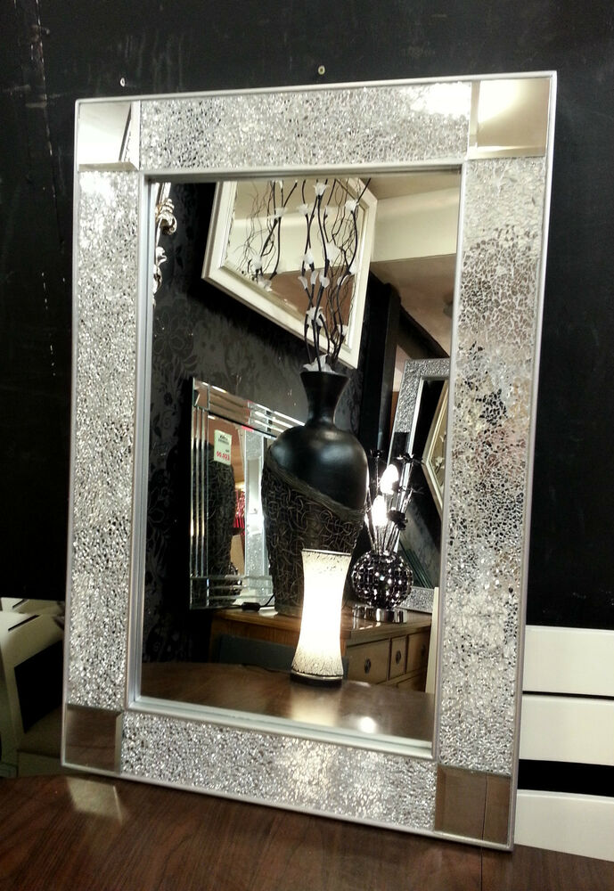 crackle design wall mirror silver chunky frame mosaic glass 120x80cm bling look ebay. Black Bedroom Furniture Sets. Home Design Ideas