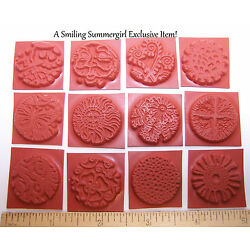 12pc Round Unmounted 1'' Texture Rubber Stamps for Polymer, PMC, Paper,  Clay