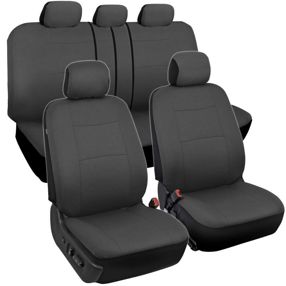 Solid Gray Car Seat Covers For Sedan Suv Truck Split Bench