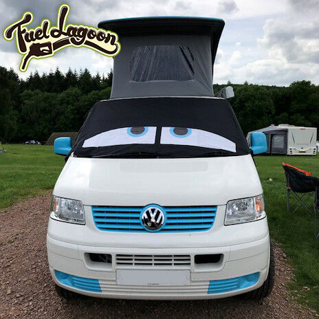 vw transporter t5 deluxe cover eyes windscreen cover curtains window screen blue ebay. Black Bedroom Furniture Sets. Home Design Ideas