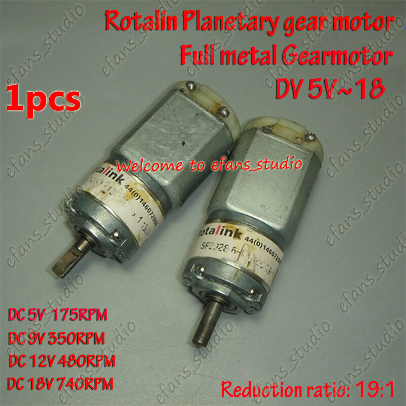 Dc 5v 18v 740rpm full metal gearbox planetary reduction for Dc planetary gear motor