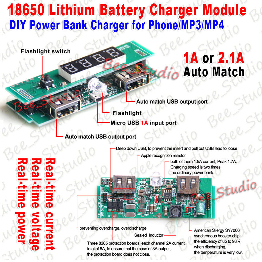 5v 21a Dual Usb Led Display 18650 Lithium Battery Charger Module All About Hobby Schematic Diagram Diy Power Bank Ebay