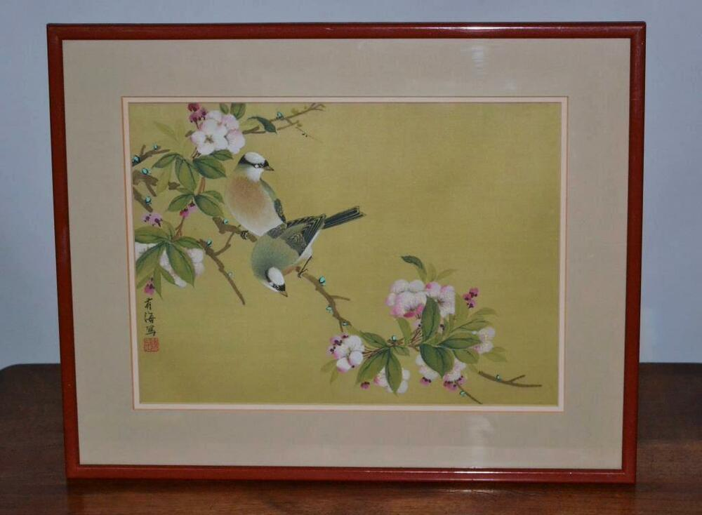 Chinese Painting On Silk Birds On A Cherry Branch In