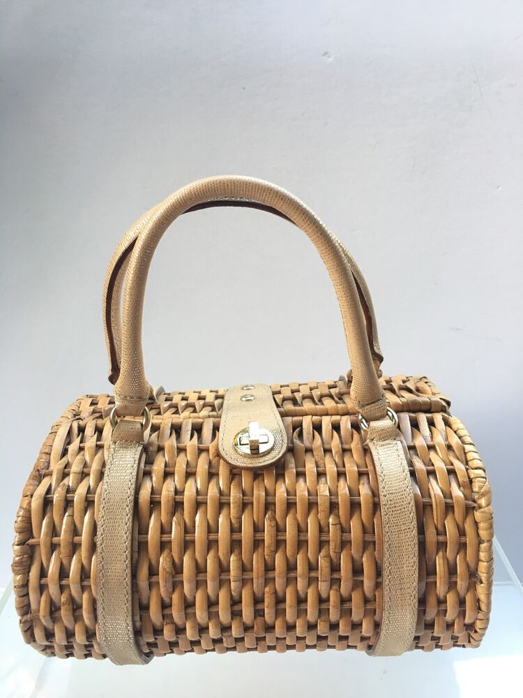 699c9a387 Kate Spade Basket Purse Gold Leather Handles Cute Wicker Straw Picnic Bag  Box | eBay