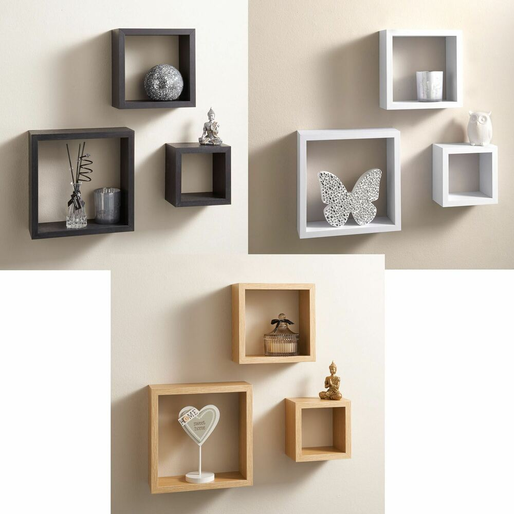 set of 3 floating cubes wall mounted storage book cd display unit shelves square ebay. Black Bedroom Furniture Sets. Home Design Ideas