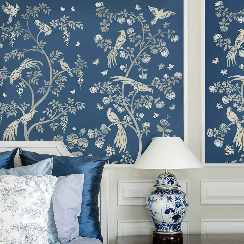 Chinoiserie Birds and Roses Wall Mural Stencil - Stencils ...