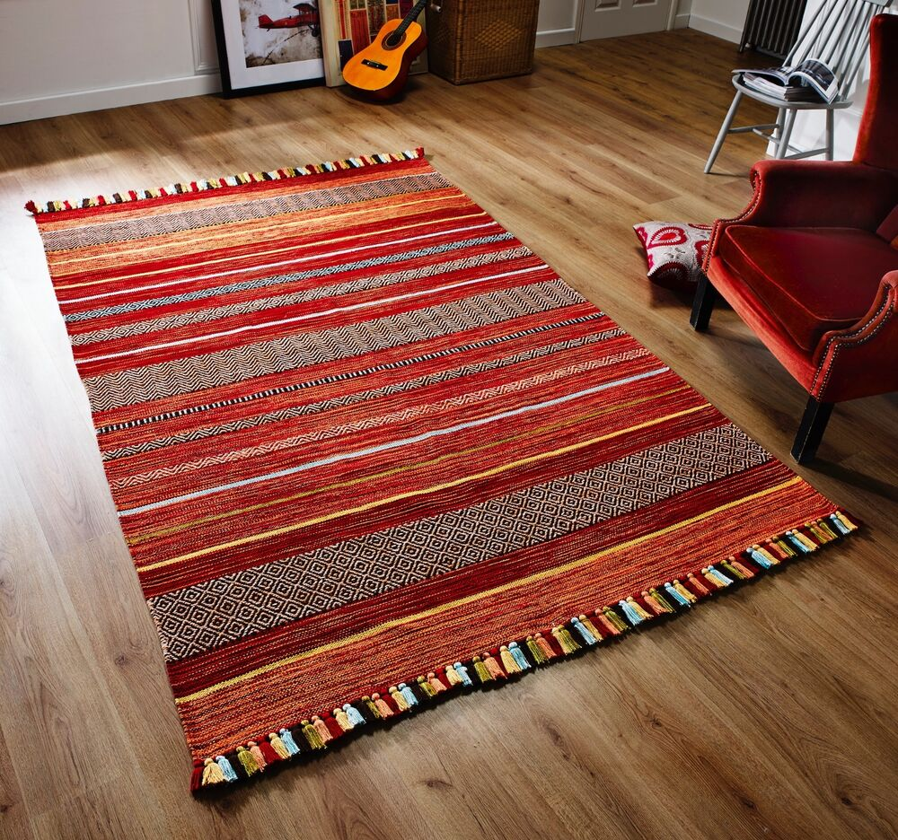 STRIPED RED MULTI Colour Cotton KILIM Handwoven Rug Runner