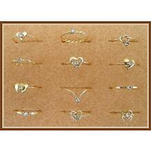 SET of 6 GOLD FILLED WIRE RINGS w/AUSTRIAN CRYSTAL, in CHILDREN'S SIZES. (NEW)