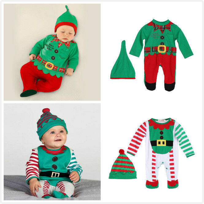 Christmas Clothes Outfits Baby Boy Girl Kids Romper Hat ...