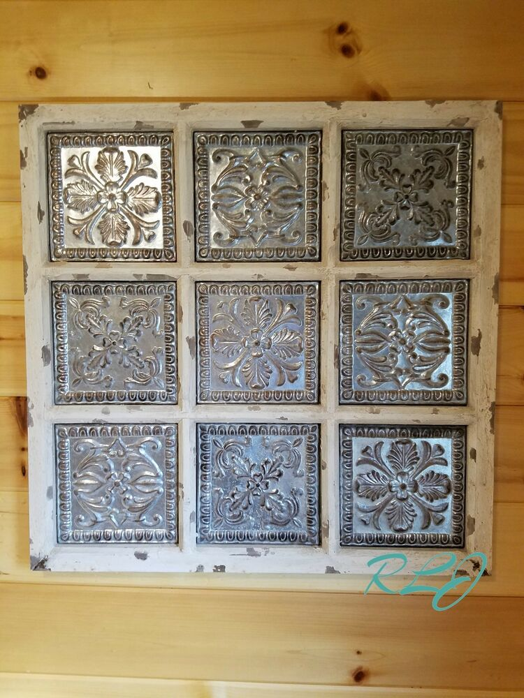 Rustic Antique Wall Decor : Rustic distressed vintage metal wood wall panel plaque art
