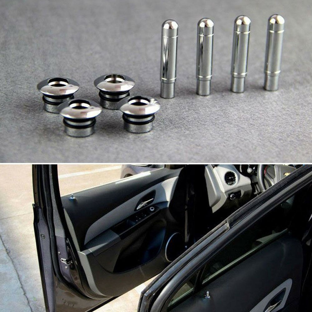 chrome car door lock modified pin caps cover kit set aluminum for cruze 10 2015 ebay. Black Bedroom Furniture Sets. Home Design Ideas