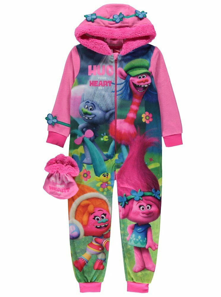 Girls Trolls Hooded Fleece All In One Sleepsuit Amp Bag