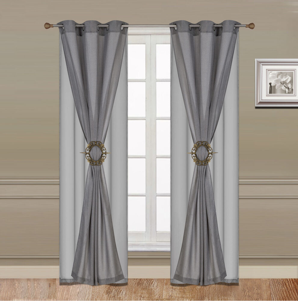 6pc Luxury Curtain Set Faux Linen Grommets Panel Sheer