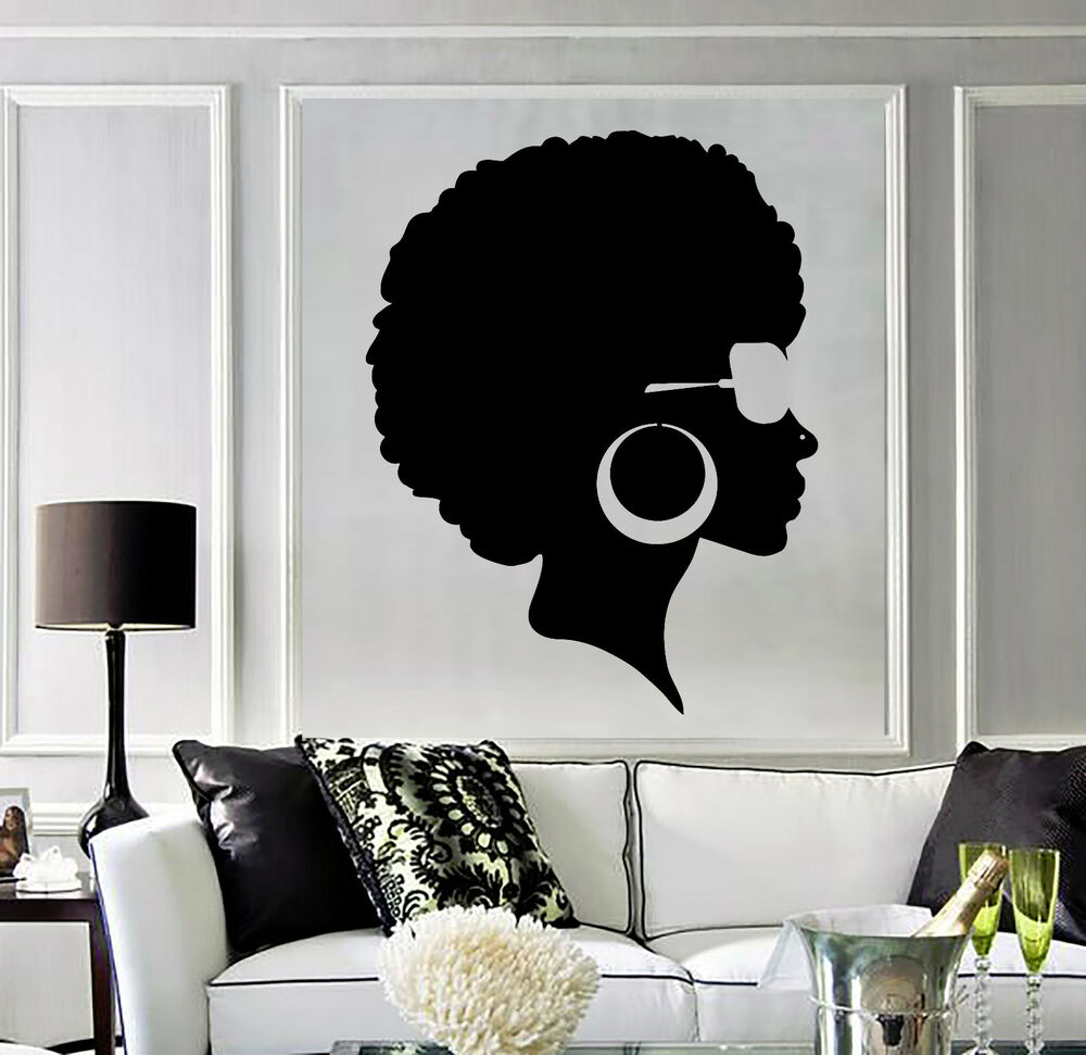 Vinyl wall decal afro hairstyle black lady beauty salon for Salon pictures for wall