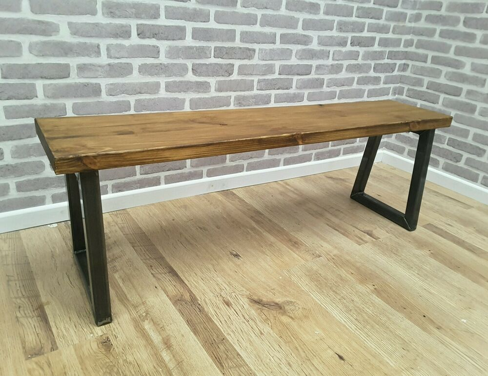 Rustic Industrial Metal Reclaimed Wood Bench 120cm Made To Order Ebay