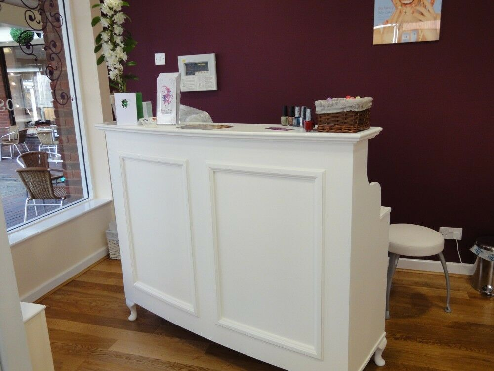 reception desk cash desk salon and retail french style On salon style shabby chic