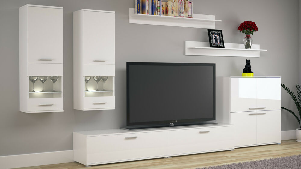 wohnzimmer set wohnwand set tv wand cosmo fronten wei hochglanz ebay. Black Bedroom Furniture Sets. Home Design Ideas