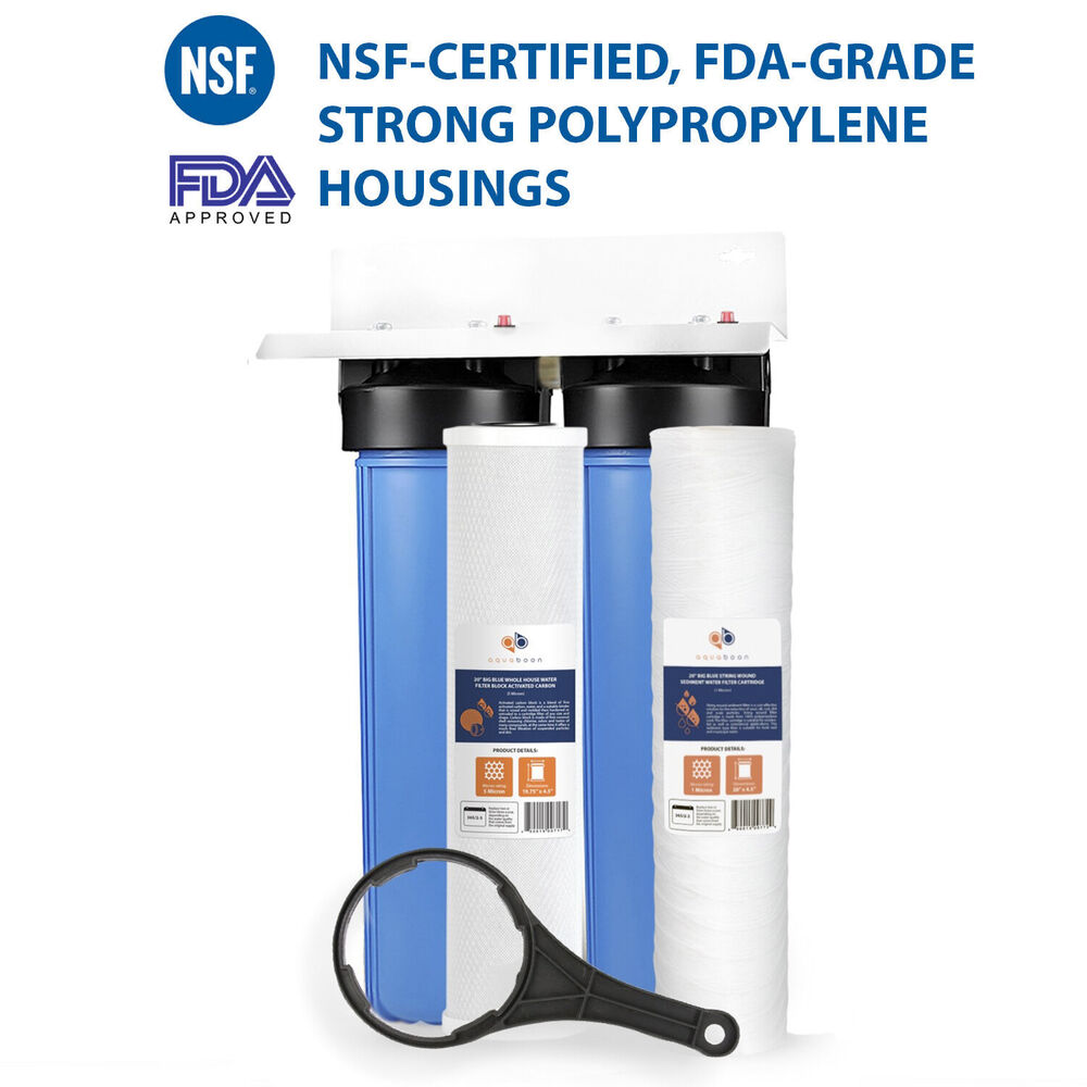 Whole House Sediment Water Filter 2 Stage Big Blue 20 Whole House Bracket String Wound Sediment