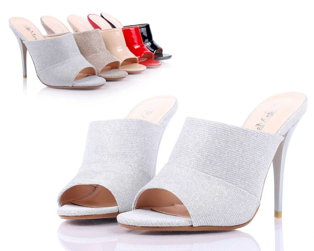 Silver Sexy Womens Peep Toe Mules High Heels Dress Shoes ...