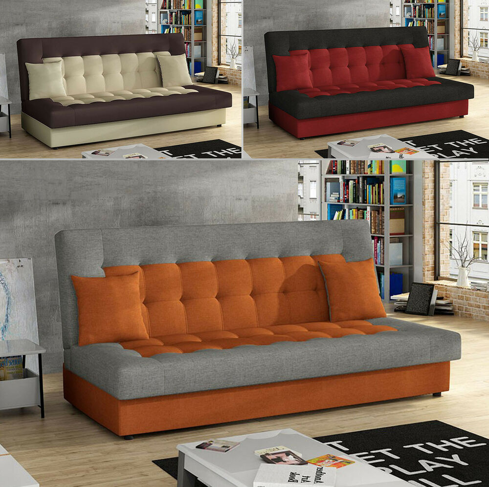schlafsofa polstersofa taz gro e farbauswahl mit schlaffunktion mit bettkasten ebay. Black Bedroom Furniture Sets. Home Design Ideas