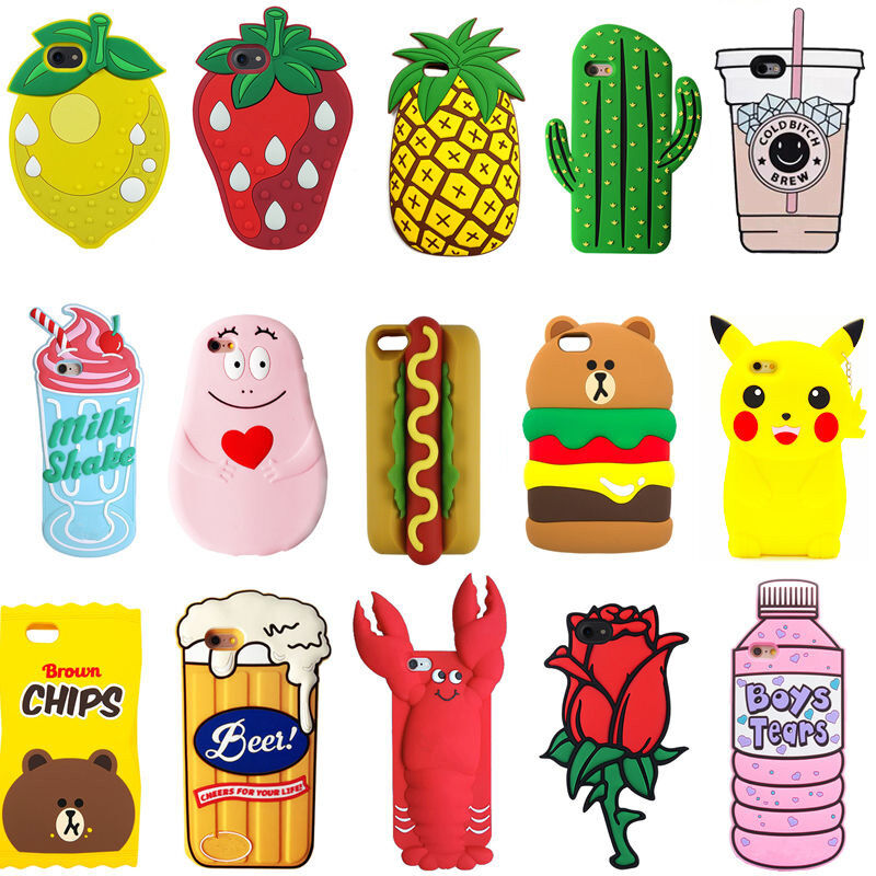 Silicone fruit animals cartoon 3d phone case cover skin for 3d decoration for phone cases