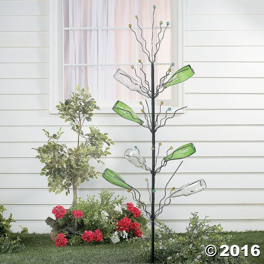 Unique Tall Bottle Tree Garden Stake W/ Marble Tips Yard