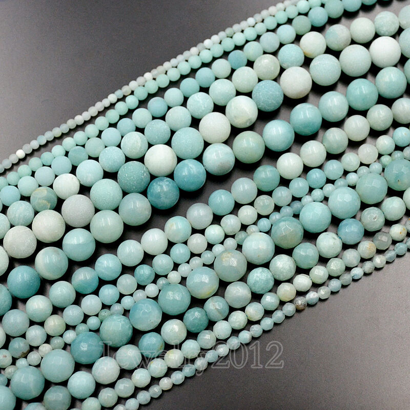 blue amazonite smooth matte faceted gemstone
